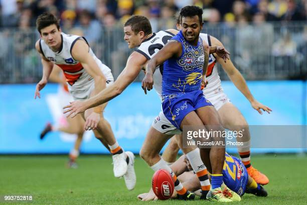 Willie Rioli of the Eagles in action during the round 16 AFL match between the West Coast Eagles and the Greater Western Sydney Giants at Optus...