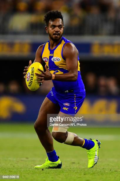 Willie Rioli of the Eagles settles himself during the 2018 AFL Round 04 match between the West Coast Eagles and the Gold Coast Suns at Optus Stadium...