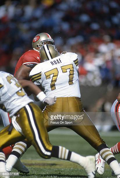 Willie Roaf of the New Orleans Saints in action against the San Francisco 49ers during an NFL football game circa 1993 at Candlestick Park in San...