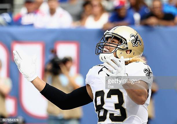 Willie Snead IV of the New Orleans Saints celebrates his touchdown against the New York Giants during the fourth quarter at MetLife Stadium on...