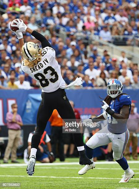 Willie Snead IV of the New Orleans Saints makes a catch to run 17yards for a touchdown against the New York Giants during the fourth quarter at...