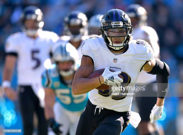 Willie Snead of the Baltimore Ravens against the Carolina Panthers during their game at Bank of America Stadium on October 28 2018 in Charlotte North...