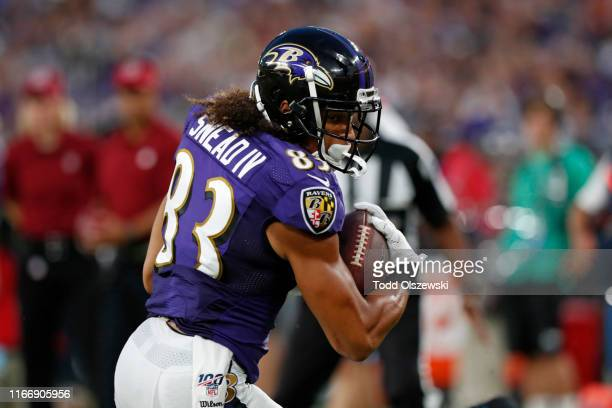 Willie Snead of the Baltimore Ravens scores a touchdown in the first half against the Jacksonville Jaguars during a preseason game at MT Bank Stadium...