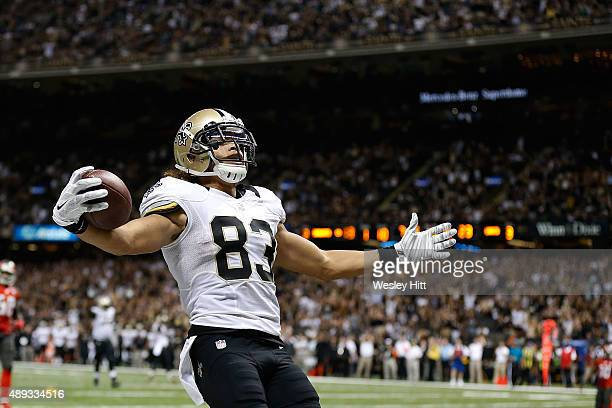 Willie Snead of the New Orleans Saints celebrates a touchdown during the fourth quarter of a game against the Tampa Bay Buccaneers at the...