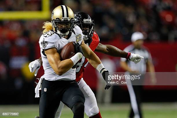 Willie Snead of the New Orleans Saints runs after a catch during the second half against the Atlanta Falcons at the Georgia Dome on January 1 2017 in...