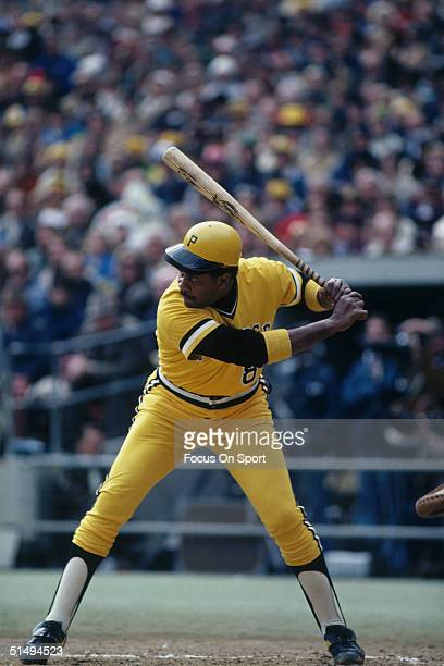 Willie Stargell of the Pittsburgh Pirates batts during the World Series against the Baltimore Orioles at Three Rivers Stadium in Pittsburg...