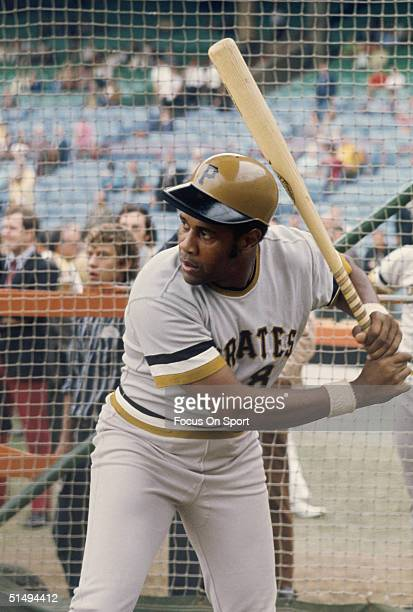 Willie Stargell of the Pittsburgh Pirates practices his swing during a game at Three Rivers Stadium in Pittsburg Pennsylvania circa 1970's