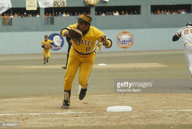 Willie Stargell of the Pittsburgh Pirates runs to field a ball at first during the World Series against the Baltimore Orioles at Three Rivers Stadium...