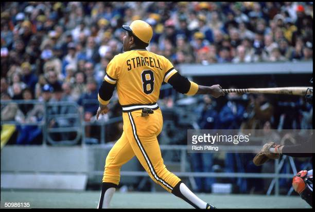 Willie Stargell of the Pittsburgh Pirates watches the flight of the ball in the 1979 World Series.