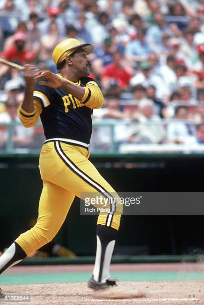 Willie Stargell of the Pittsburgh Pirates watches the flight of the ball as he follows through on a swing during a game in 1980.
