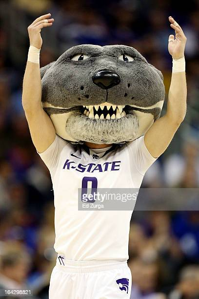 Willie the Wildcat mascot of the Kansas State Wildcats performs in the first half against the La Salle Explorers during the second round of the 2013...