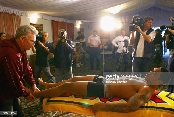 Willie Tonga receives a medical check after the Queensland Maroons State of Origin team announcement at Royal On The Park on June 16 2009 in Brisbane...