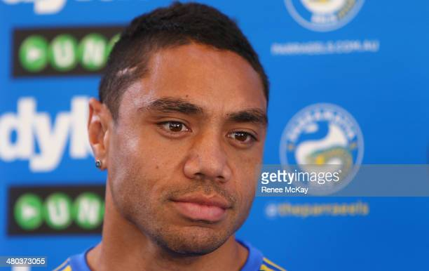 Willie Tonga talks to the media during a Parramatta Eels NRL recovery session at Pirtek Stadium on March 25 2014 in Sydney Australia