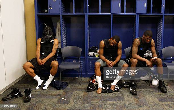 Willie Veasley Shawn Vanzant and Avery Jukes of the Butler Bulldogs sit in the locker room after losing to the Duke Blue Devils 6159 in the 2010 NCAA...