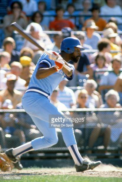 Willie Wilson of the Kansas City Royals bats against the Baltimore Orioles during an Major League Baseball game circa 1980 at Memorial Stadium in...