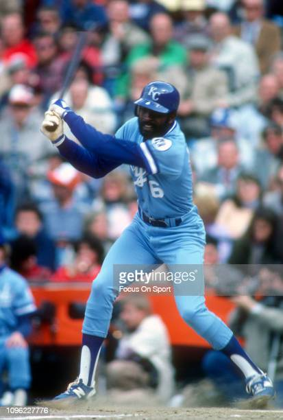 Willie Wilson of the Kansas City Royals bats against the Baltimore Orioles during an Major League Baseball game circa 1983 at Memorial Stadium in...