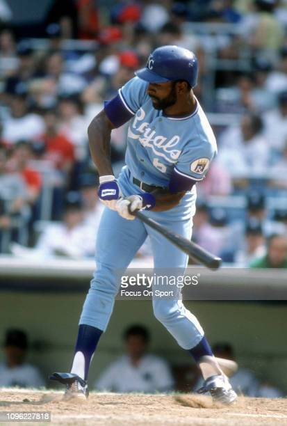 Willie Wilson of the Kansas City Royals bats against the New York Yankees during an Major League Baseball game circa 1985 at Yankee Stadium in the...