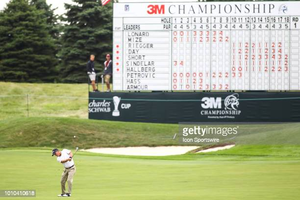 Willie Wood hits his approach shot on 18 during the first round of the 3M Championship on August 3 2018 at TPC Twin Cities in Blaine Minnesota