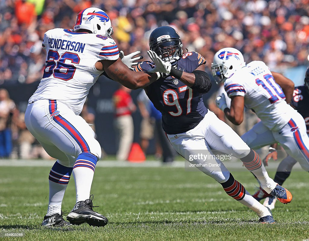 Willie Young #97 of the Chicago Bears rushes against Seantrel Henderson #66 of the Buffalo Bills at Soldier Field on September 7, 2014 in Chicago, Illinois. The Bills defeated the Bears 23-20 in overtime.