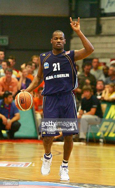 Willimam Affery of Berlin in gestures during the Basketball Bundesliga match between EnBW Ludwigsburg and Alba Berlin, at the Rundsporthall on April...