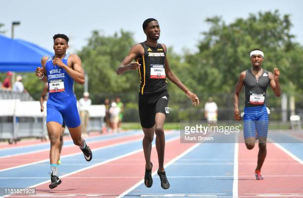 Willington Wright Trey Johnson and Elijah Berry compete in the 400m during the USA Track Field U20 Outdoor Championships at Ansin Sports Complex on...