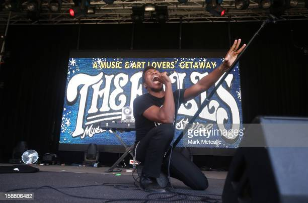 Willis Earl Beal performs live on stage at The Falls Music and Arts Festival on December 30 2012 in Lorne Australia