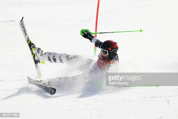 Willis Feasey of New Zealand crashes during the Men's Slalom on day 13 of the PyeongChang 2018 Winter Olympic Games at Yongpyong Alpine Centre on...