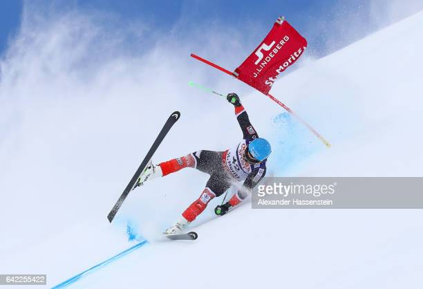 Willis Feasley of New Zealand crashes out competes in the Men's Giant Slalom during the FIS Alpine World Ski Championships on February 17 2017 in St...