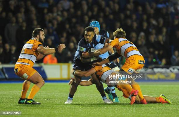 Willis Halaholo of Cardiff Blues is tackled by Louis Fouche and Nico Lee of Toyota Cheetahs during the Guinness Pro14 Round 5 match between Cardiff...