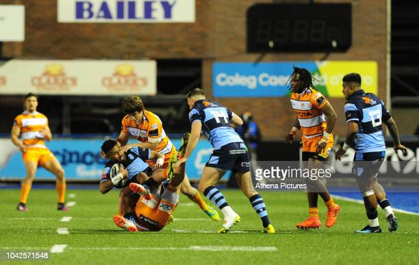 Willis Halaholo of Cardiff Blues is tackled by Nico Lee of Toyota Cheetahs during the Guinness Pro14 Round 5 match between Cardiff Blues and Toyota...