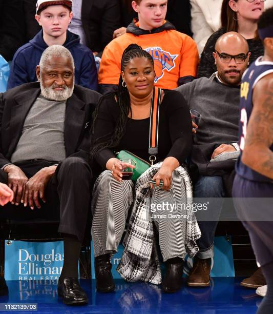 Willis Reed and Adrienne C Moore attend Denver Nuggets v New York Knicks game at Madison Square Garden on March 22 2019 in New York City