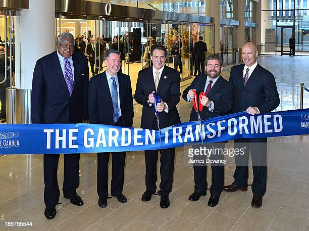 Willis Reed, Hank Ratner, Governor Andrew Cuomo, Jim Dolan and Mark Messier attend Madison Square Garden transformation unveiling at Madison Square...