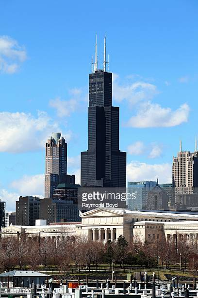 Willis Tower as photographed from Burnham Harbor in Chicago Illinois on March 16 2016