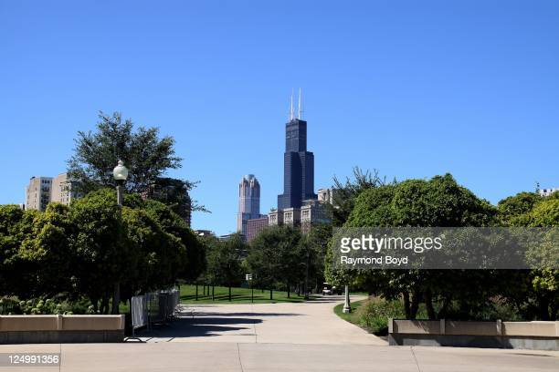 Willis Tower hovers over the Hilton Chicago Hotel in Chicago Illinois on SEPT 07 2011