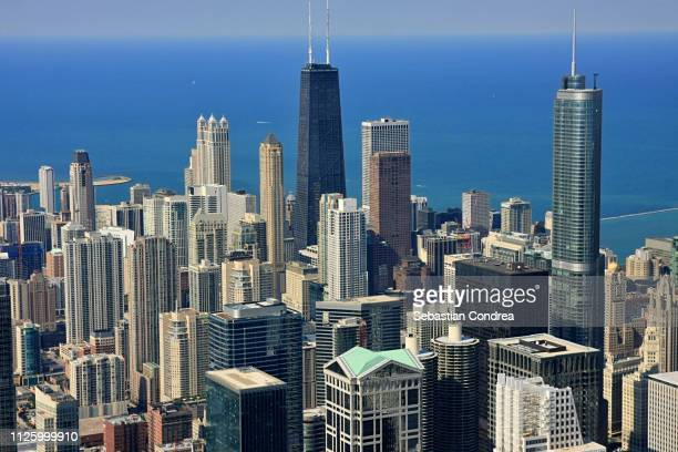 Willis Tower in bachground,Skyline from Above,Chicago, US