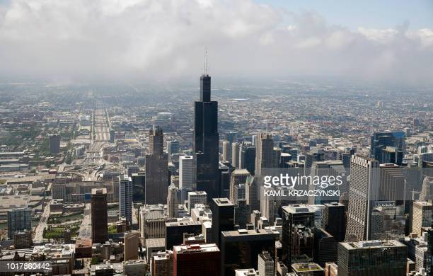 Willis Tower is seen during fly over before the 60th annual Chicago Air and Water Show on August 16, 2018 in Chicago, Illinois.
