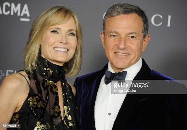 Willow Bay and Bob Iger arrive at the 2017 LACMA Art Film Gala honoring Mark Bradford and George Lucas at LACMA on November 4 2017 in Los Angeles...