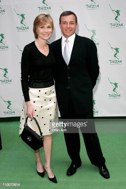 Willow Bay and Disney's Bob Iger during Opening Night of the Broadway Musical Tarzan Red Carpet at Richard Rogers Theatre in New York New York United...