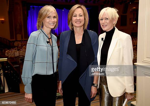 Willow Bay Dee Dee Myers and Joanna Coles attend the Common Sense Media Luncheon at the Beverly Wilshire Four Seasons Hotel on November 16 2016 in...