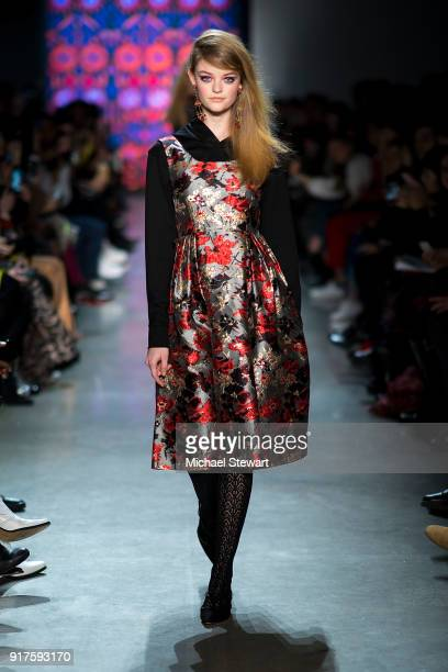 Willow Hand walks the runway during the Anna Sui fashion show during New York Fashion Week at Gallery I at Spring Studios on February 12 2018 in New...