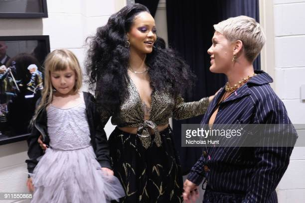 Willow Hart recording artists Rihanna and Pink backstage at the 60th Annual GRAMMY Awards at Madison Square Garden on January 28 2018 in New York City