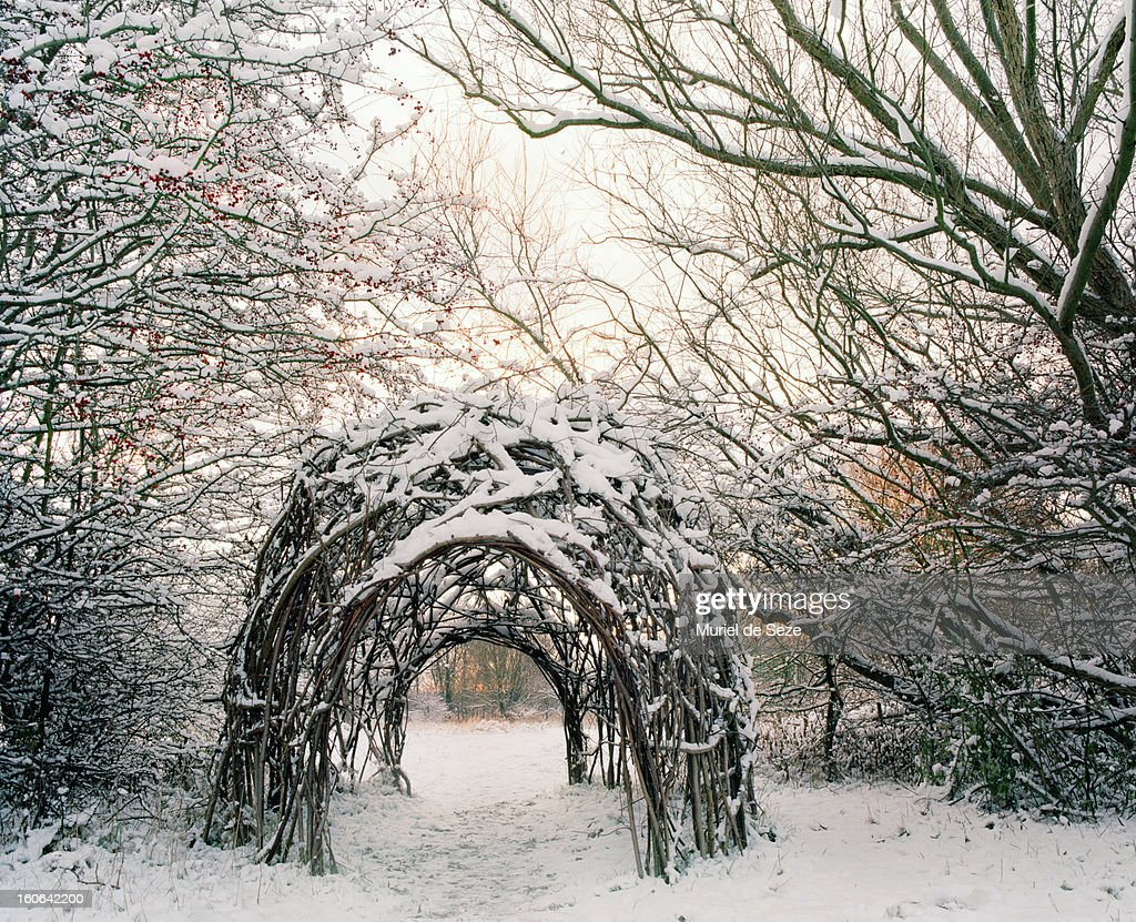 Willow hut in snowy landscape : Stock Photo