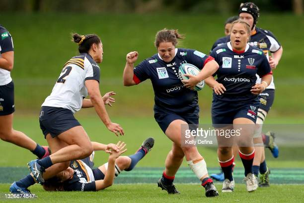 Willow Rowland of the Rebels runs with the ball during the Super W match between the Melbourne Rebels and the ACT Brumbies at Coffs Harbour...