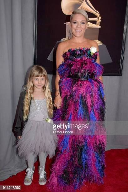 Willow Sage Hart and recording artist Pink attend the 60th Annual GRAMMY Awards at Madison Square Garden on January 28 2018 in New York City