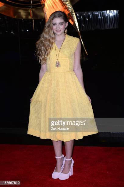 Willow Shield attends the UK Premiere of The Hunger Games Catching Fire at Odeon Leicester Square on November 11 2013 in London England