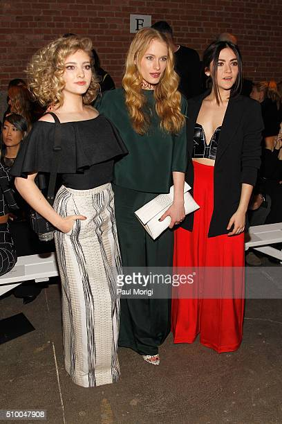 Willow Shields Leven Rambin and Isabelle Fuhrman attend the Christian Siriano Fall 2016 fashion show during New York Fashion Week at ArtBeam on...