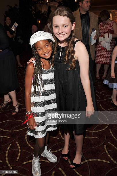Willow Smith and Abigail Breslin attend the premiere of Kit Kittredge An American Girl at The Grove on June 14 2008 in Los Angeles California