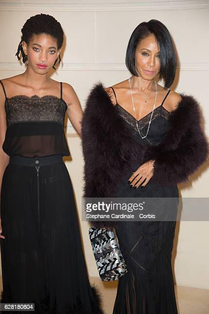 Willow Smith and Jada Pinkett Smith attend the 'Chanel Collection des Metiers d'Art 2016/17 Paris Cosmopolite' show on December 6 2016 in Paris France