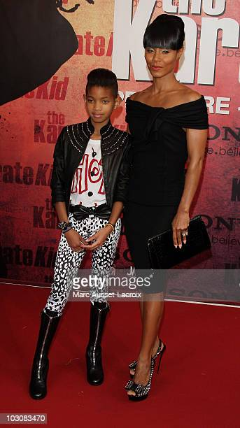 Willow Smith and Jada Pinkett Smith attend 'The Karate Kid' Paris Premiere at Le Grand Rex on July 25, 2010 in Paris, France.