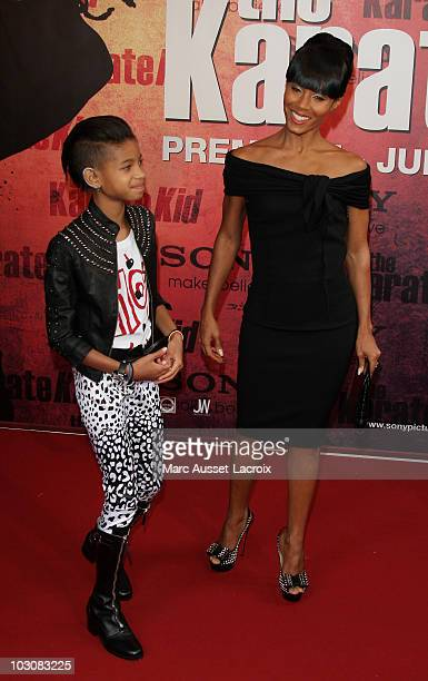 Willow Smith and Jada Pinkett Smith attend 'The Karate Kid' Premiere at Le Grand Rex on July 25, 2010 in Paris, France.